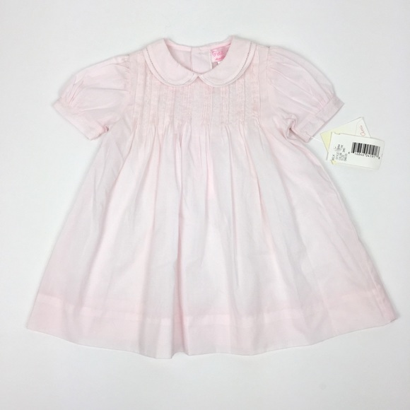 NWT Petit Ami Pink Pintuck 3PC Dress Bloomers Bonnet Baby Girl 3 Months 3M